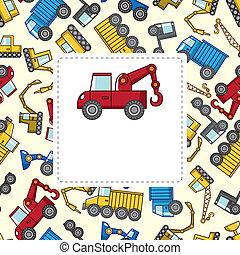 camion, cartone animato, scheda