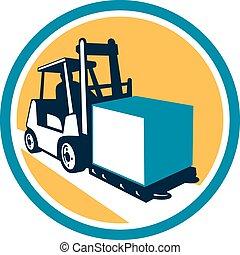 camion chariot élévateur fourche, boîte, cercle, retro