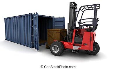 camion chariot élévateur fourche, chargement, a, récipient