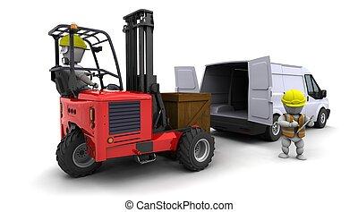 camion chariot élévateur fourche, chargement, fourgon, homme