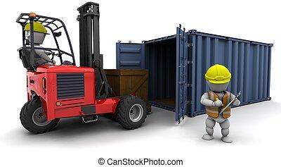 camion chariot élévateur fourche, chargement, récipient, homme
