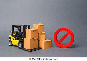 camion chariot élévateur fourche, wars., commercer, no., propriété, import., symbole, delivery., non, embargo, rouges, interdiction, boîtes, incapacité, carton, business., marchandises, produits, restriction, importation, vendre