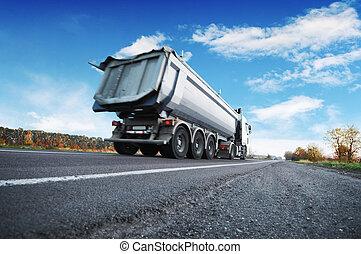 camion, ciel, route, campagne, contre, bleu, décharge