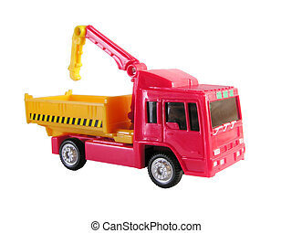 camion, con, gru, giocattolo