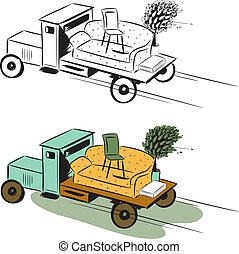 camion, con, mobilia