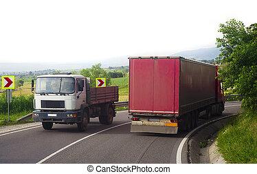 camion, concept, transport, road., conduite