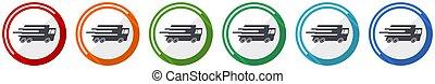 camion, couleurs, illustration, mobile, vitesse, icône, jeûne, 6, options, conception, ensemble, plat, applications, transport, livraison, webdesign, vecteur