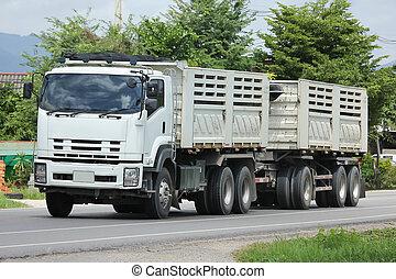 camion décharge, autoroute, route