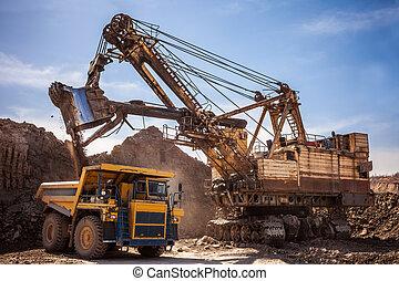 camion décharge, chargement, excavateur