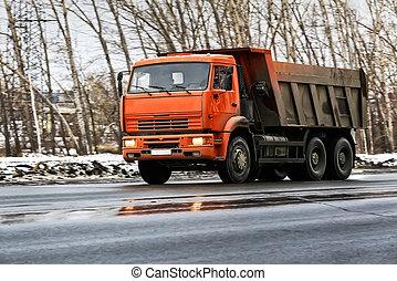 camion décharge, hiver, route