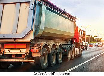 camion, décharge, va, autoroute