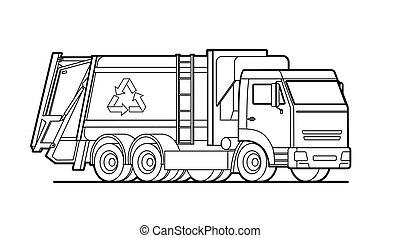 camion, déchets, contour