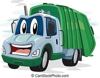 camion, déchets, mascotte