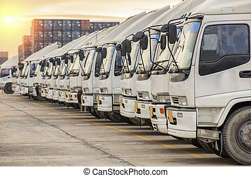 camion, dépôt, récipient