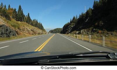 camion, dépassement, ensoleillé, road., ont