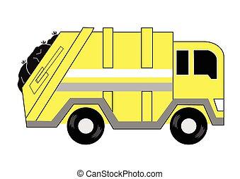 camion, dessin animé, déchets