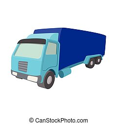 camion, dessin animé, icône