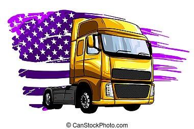camion, dessin animé, illustration, vecteur, semi, conception, art