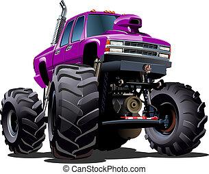 camion, dessin animé, monstre