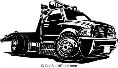 camion, dessin animé, remorquage