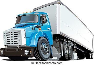 camion, dessin animé, semi