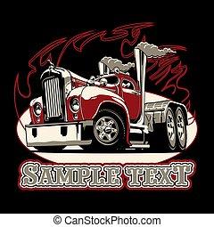 camion, dessin animé, semi, retro