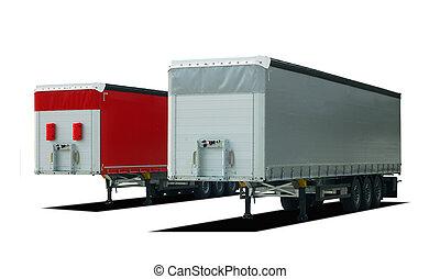camion, deux, caravane, semi