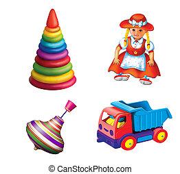 camion, dress., séance, pyramid., poupée, toys., jouet, ...