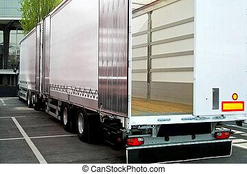 camion, e, roulotte