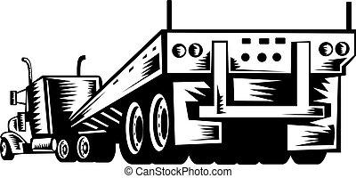 camion, e, roulotte, osservato, da, il, retro