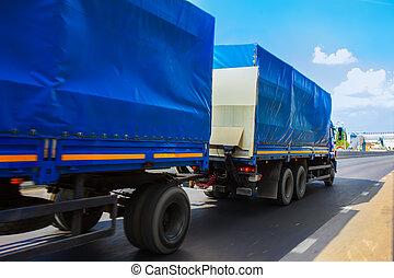 camion, en mouvement, autoroute