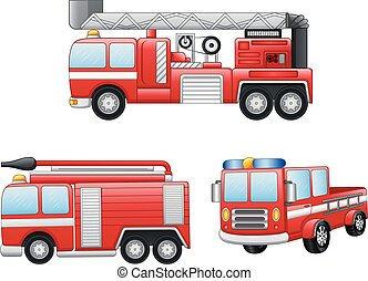 camion feu, dessin animé, illustration