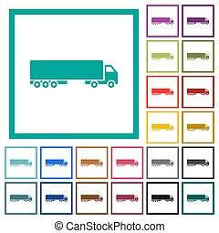 Camion flat color icons with quadrant frames on white background