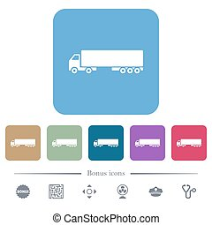 Camion white flat icons on color rounded square backgrounds. 6 bonus icons included