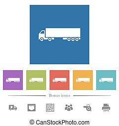 Camion flat white icons in square backgrounds. 6 bonus icons included.