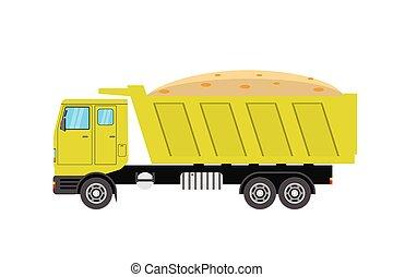 camion, fond, isolé, culbuteur, vue, côté, jaune, blanc