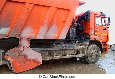 camion, fracas, décharge