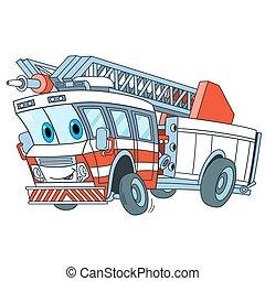camion fuoco, cartone animato