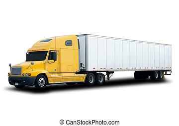 camion, giallo, semi