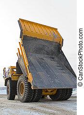 camion, grand, exploitation minière, jaune