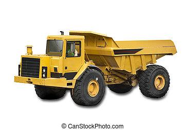 camion, grand, jaune