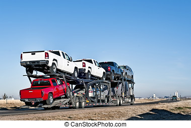 camion grande, con, car-hauling, roulotte
