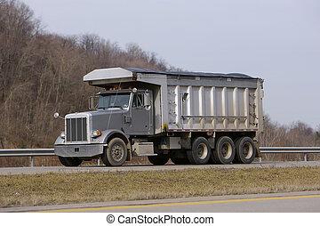camion, gris, décharge