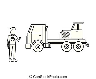 camion, grue, ouvrier, homme