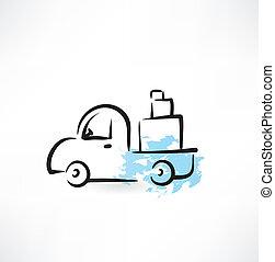 camion, grunge, icône