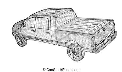 camion, haut, cueillir