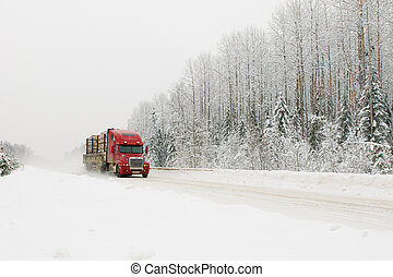 camion, hiver, route, rouges