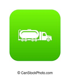 camion, huile, vert, icône