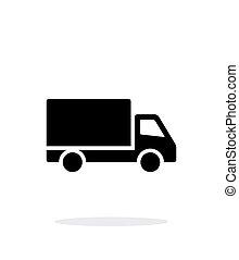 camion, icône, simple, arrière-plan., blanc