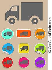 camion, icona, -, vettore